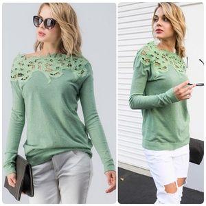 Neo Mint Floral Lace Shoulder Top
